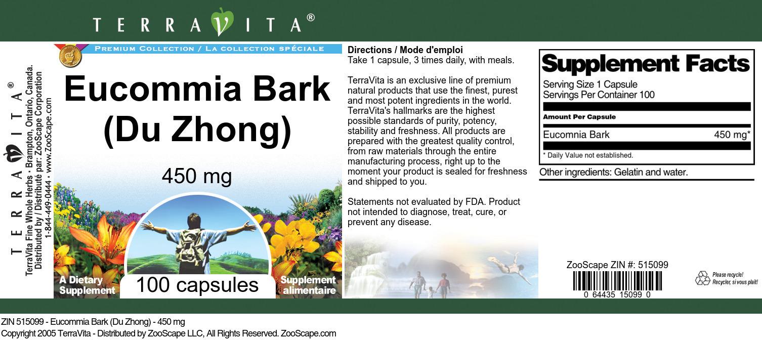 Eucommia Bark (Du Zhong) - 450 mg