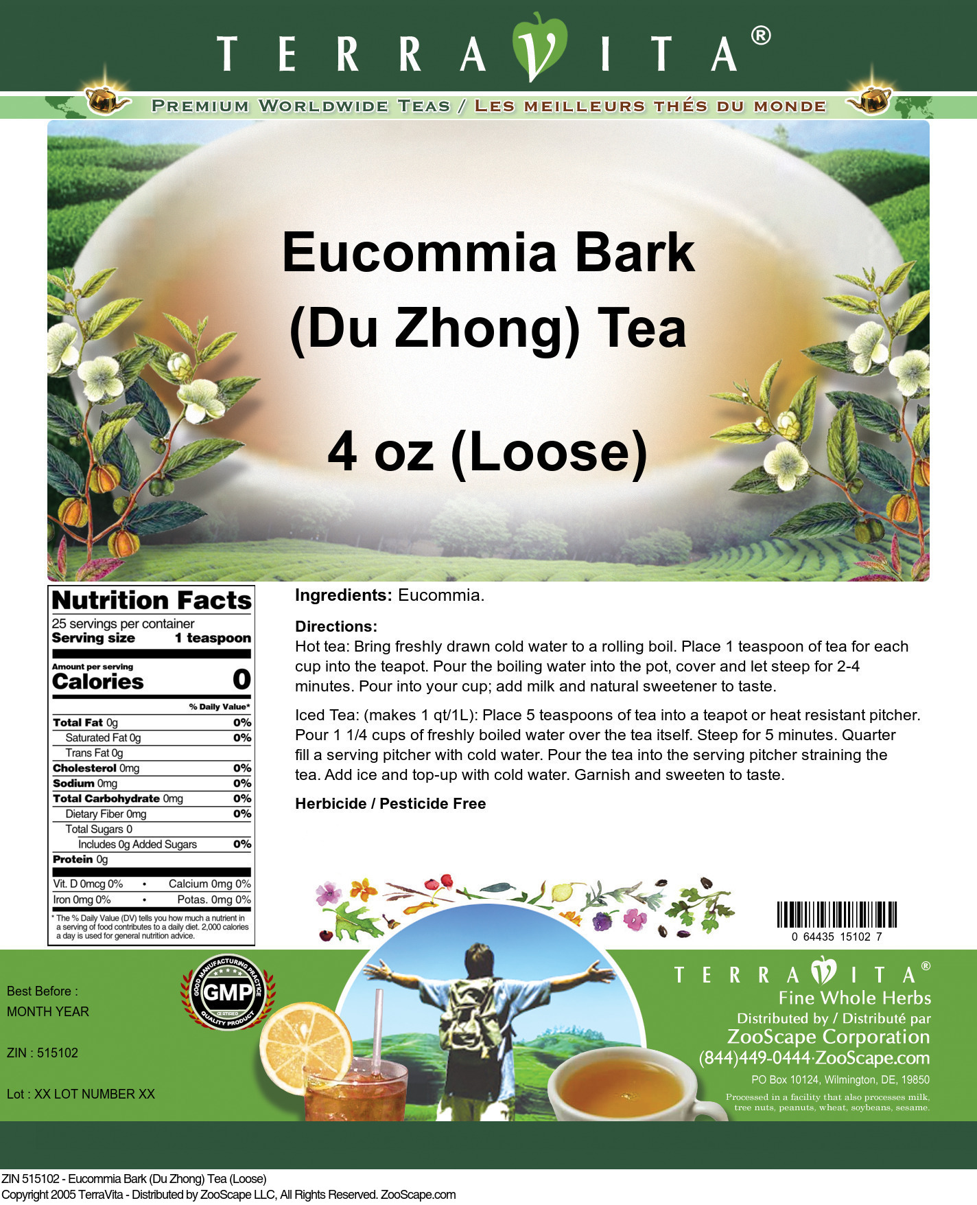 Eucommia Bark (Du Zhong) Tea (Loose)