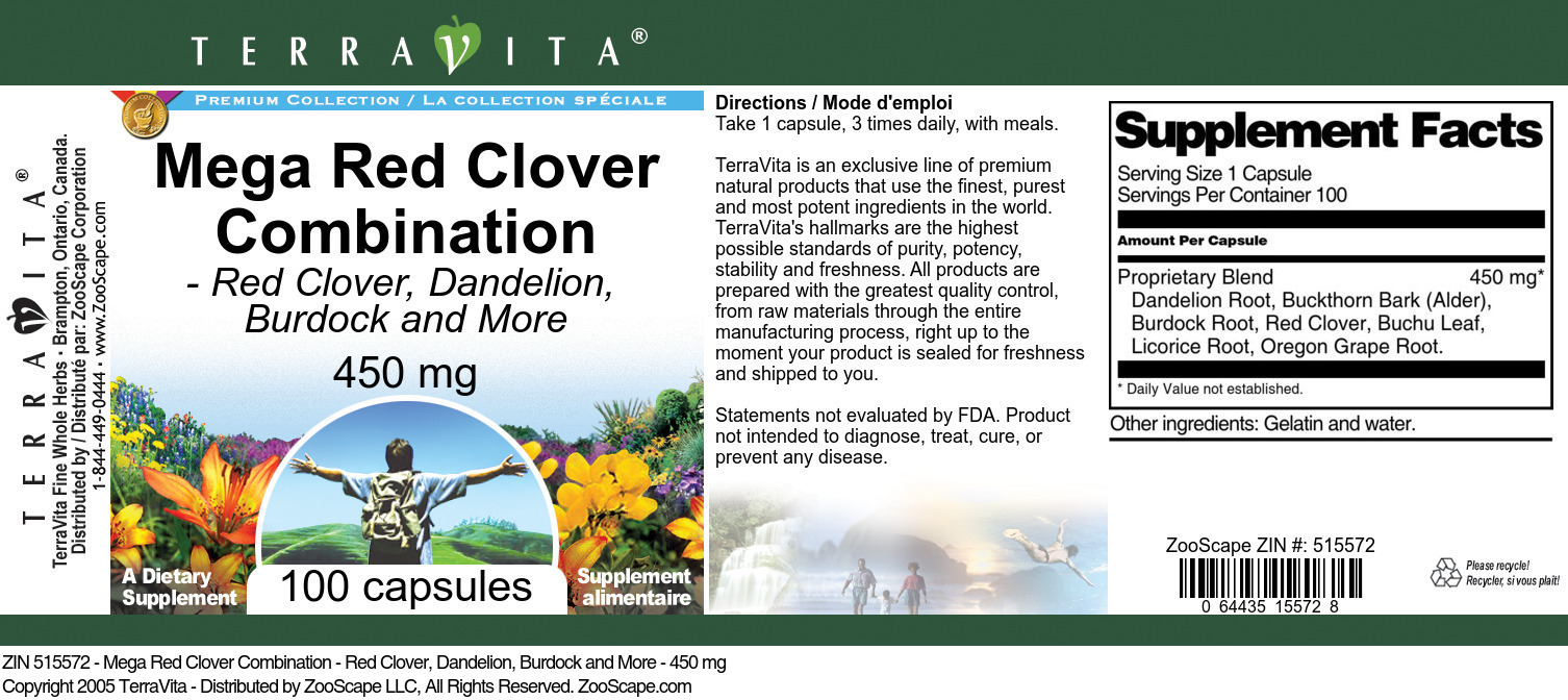 Mega Red Clover Combination - Red Clover, Dandelion, Burdock and More - 450 mg