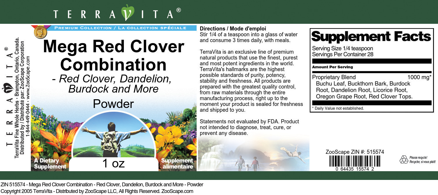 Mega Red Clover Combination - Red Clover, Dandelion, Burdock and More - Powder