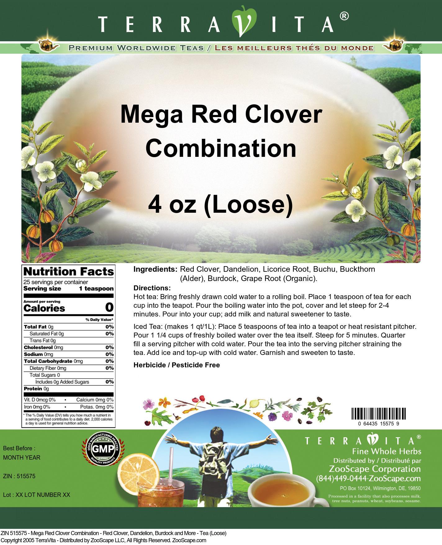 Mega Red Clover Combination - Red Clover, Dandelion, Burdock and More - Tea (Loose)