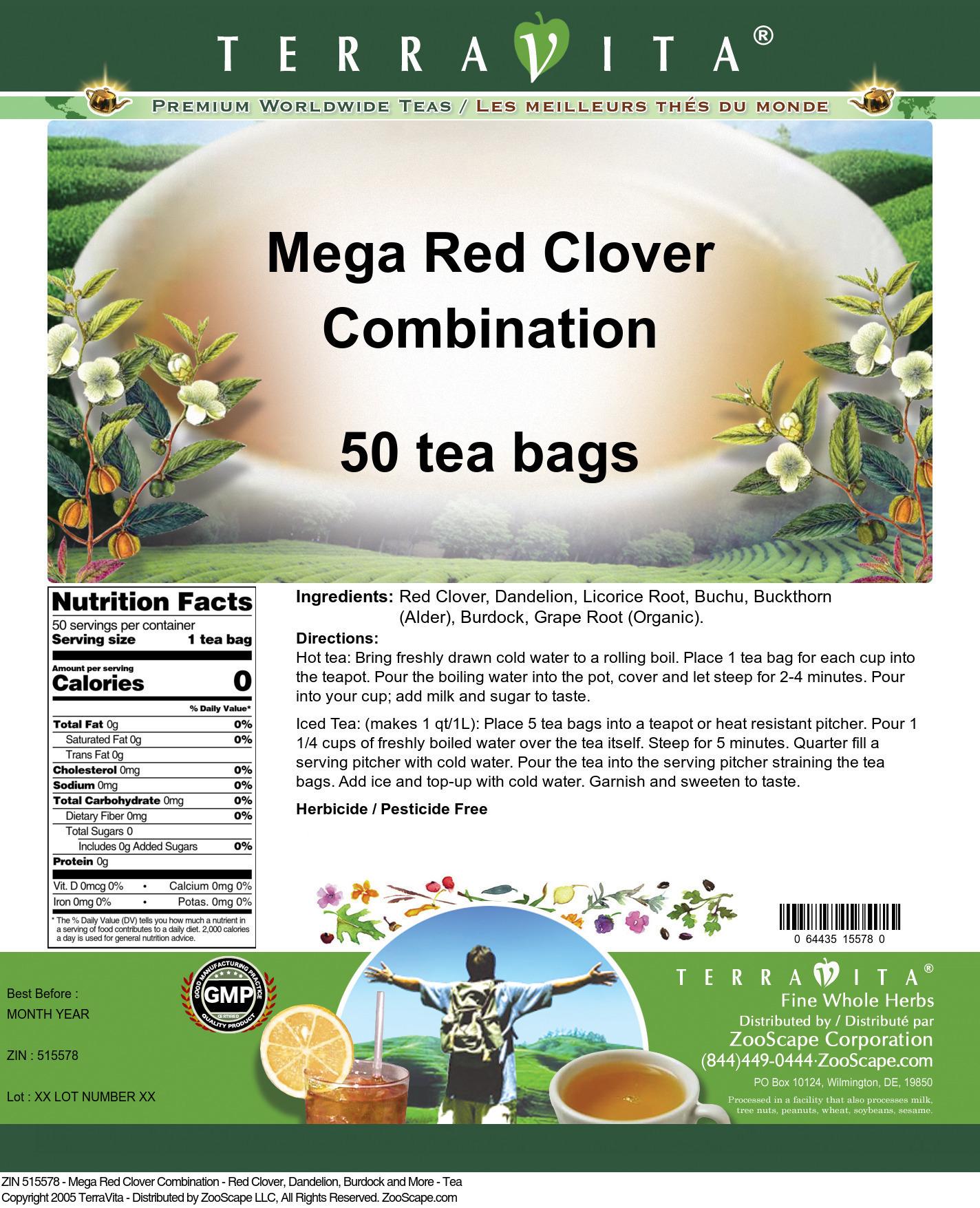 Mega Red Clover Combination - Red Clover, Dandelion, Burdock and More - Tea