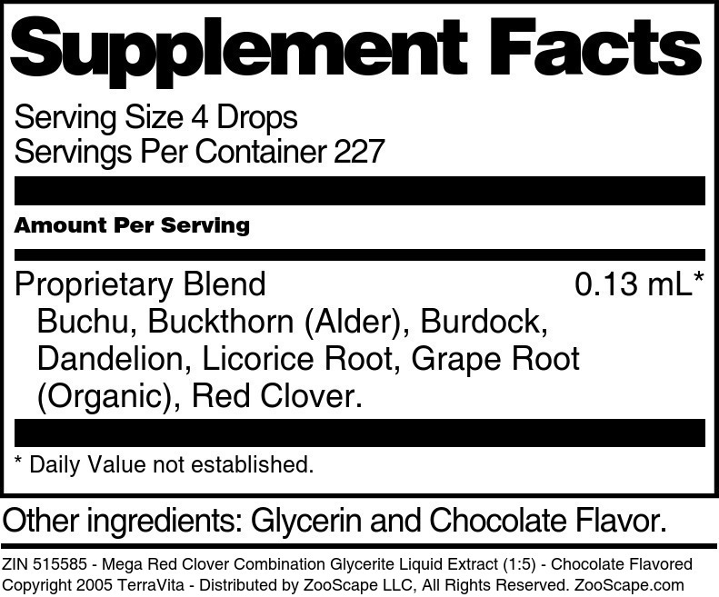 Mega Red Clover Combination Glycerite Liquid Extract (1:5)