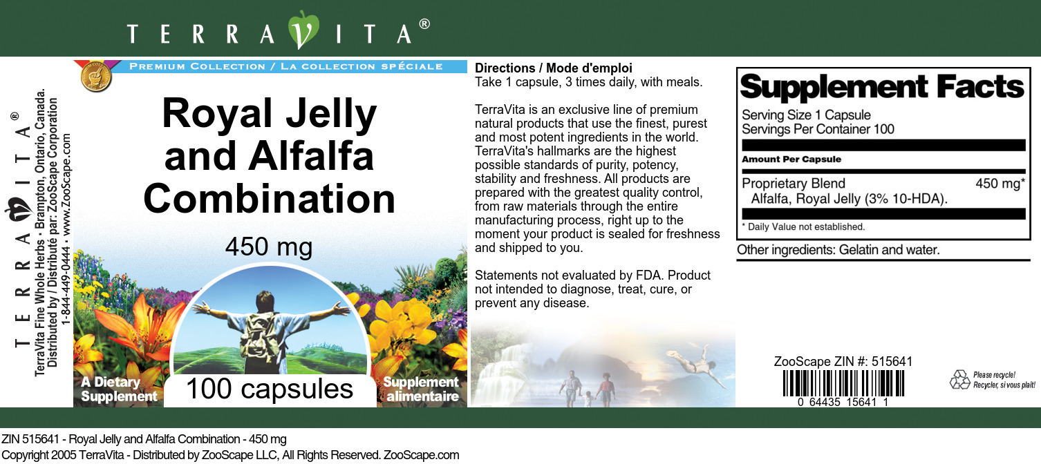 Royal Jelly and Alfalfa Combination - 450 mg