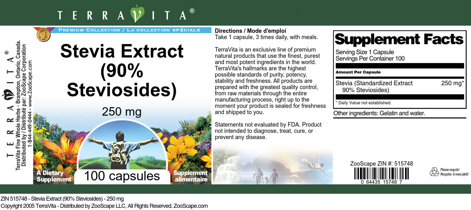 Stevia Extract (90% Steviosides) - 250 mg