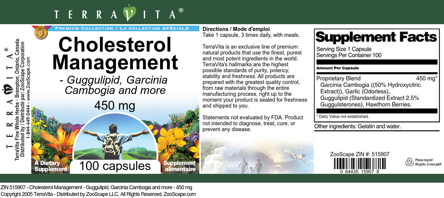 Cholesterol Management - Guggulipid, Garcinia Cambogia and more - 450 mg