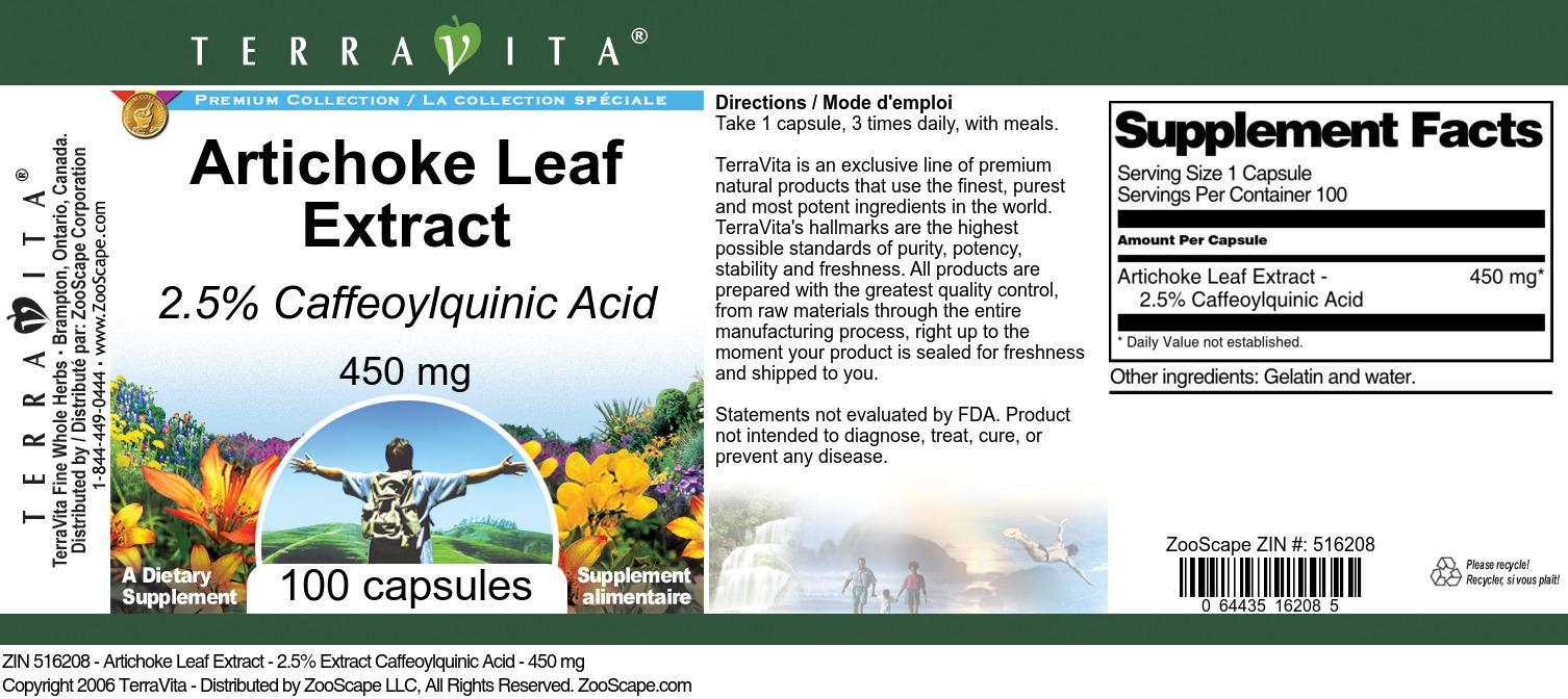 Artichoke Leaf Extract - 2.5% Caffeoylquinic Acid - 450 mg