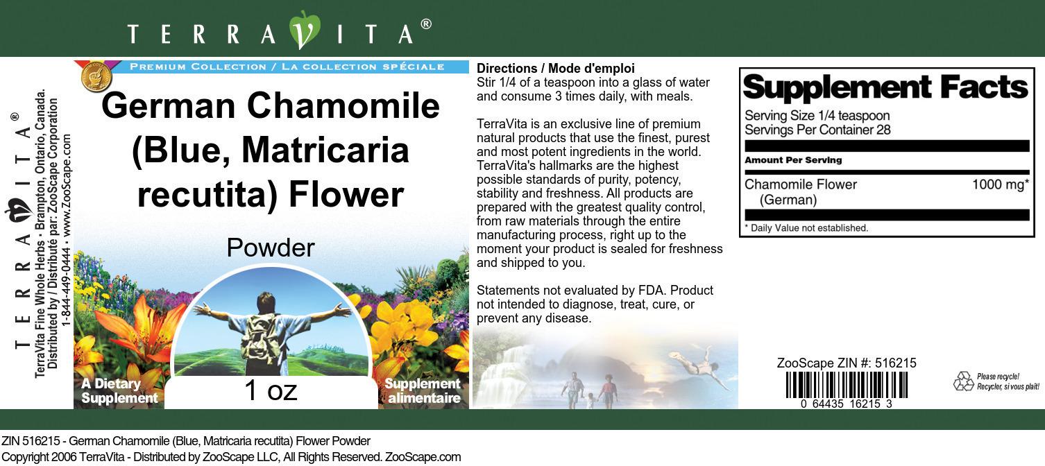German Chamomile (Blue, Matricaria recutita) Flower Powder