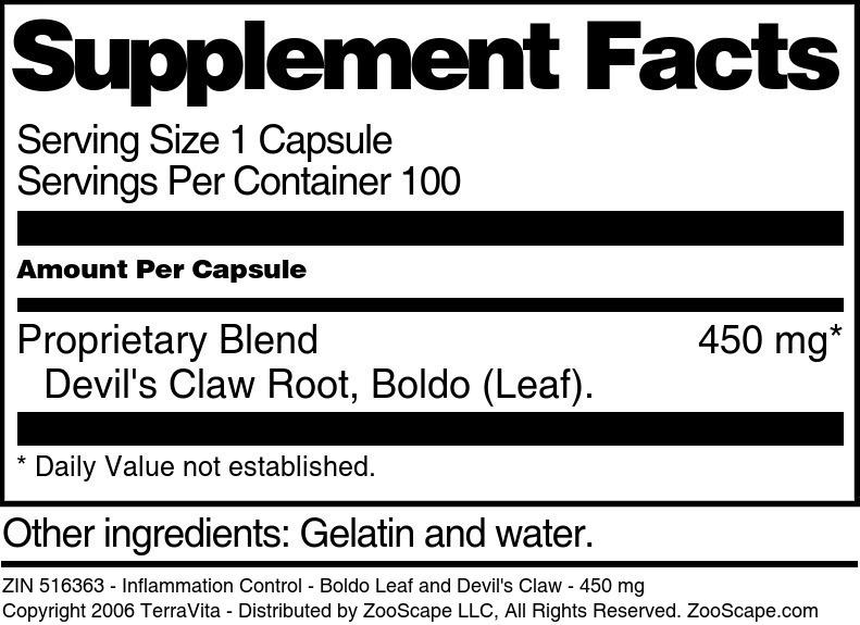 Inflammation Control - Boldo Leaf and Devil's Claw - 450 mg
