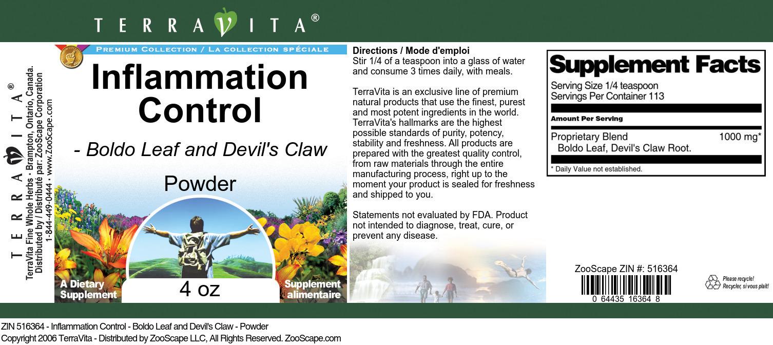 Inflammation Control - Boldo Leaf and Devil's Claw - Powder