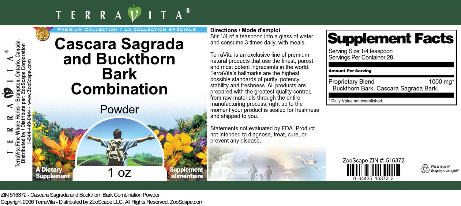 Cascara Sagrada and Buckthorn Bark Combination Powder