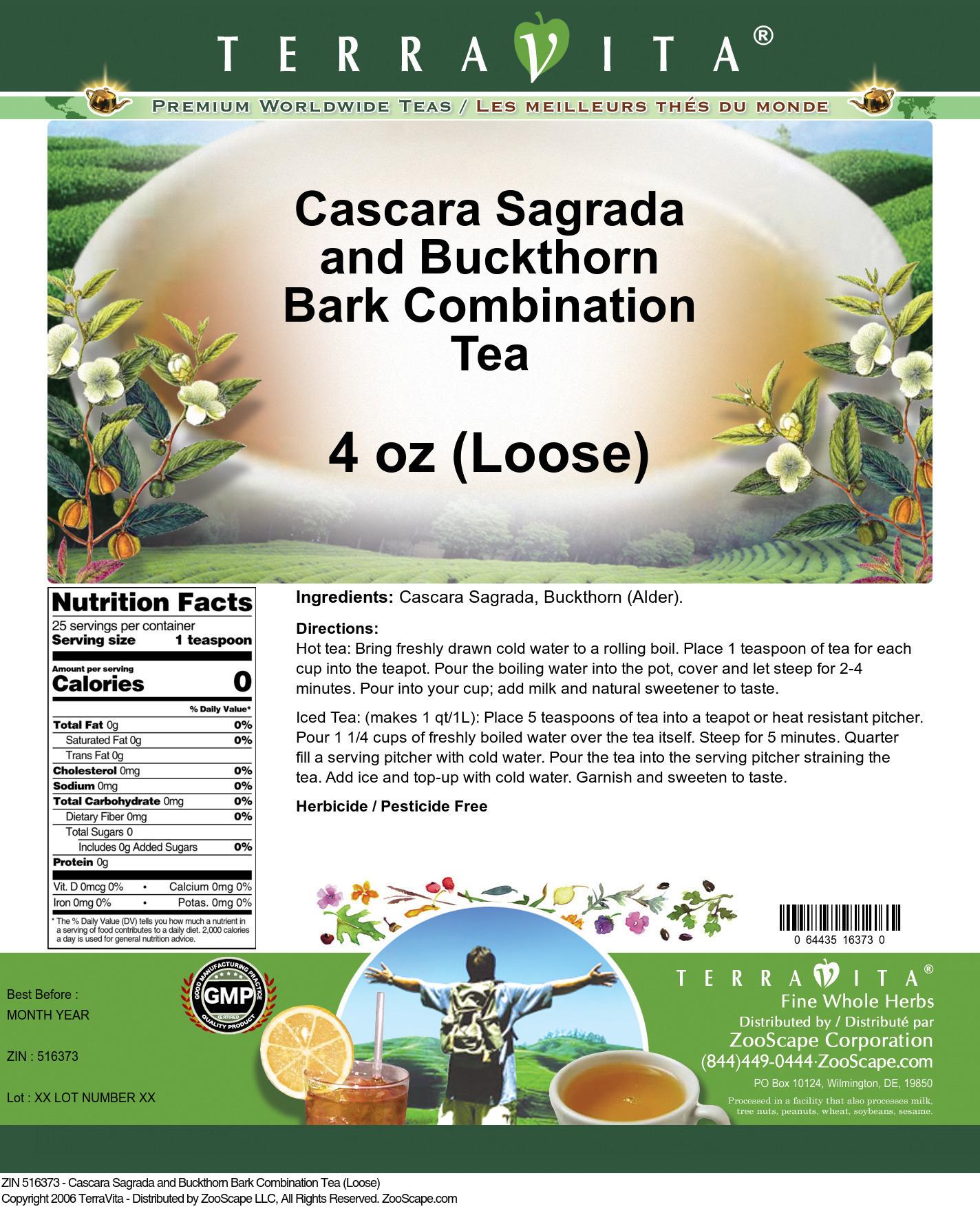 Cascara Sagrada and Buckthorn Bark Combination Tea (Loose)