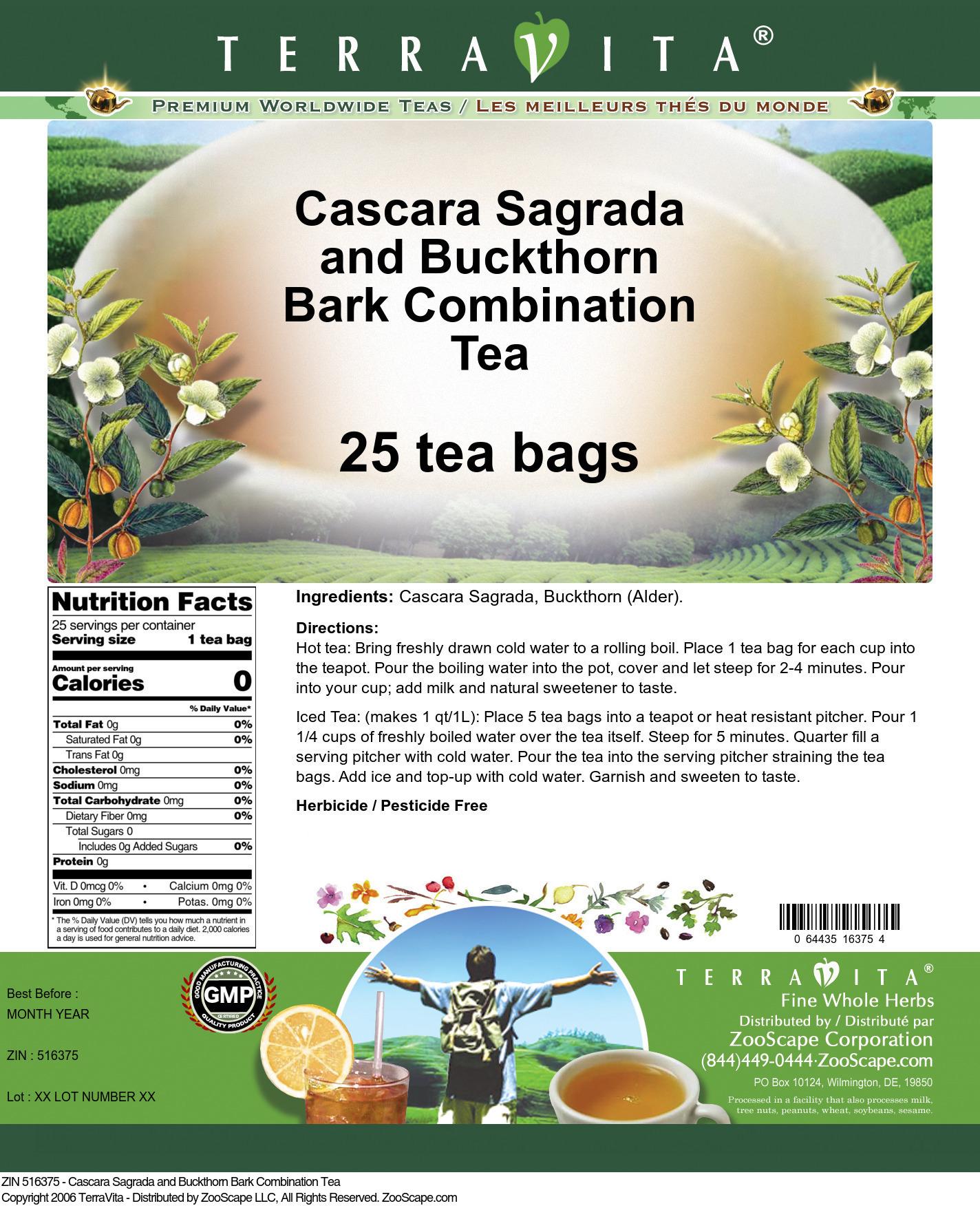 Cascara Sagrada and Buckthorn Bark Combination Tea
