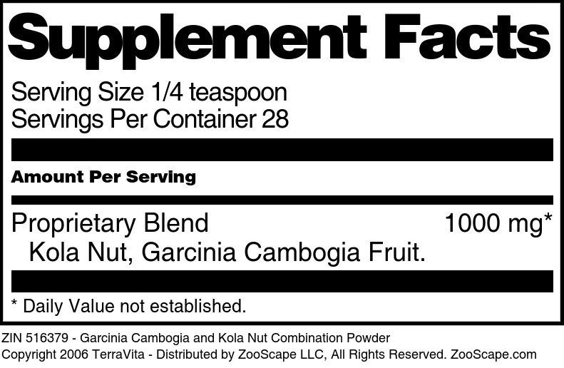 Garcinia Cambogia and Kola Nut Combination Powder