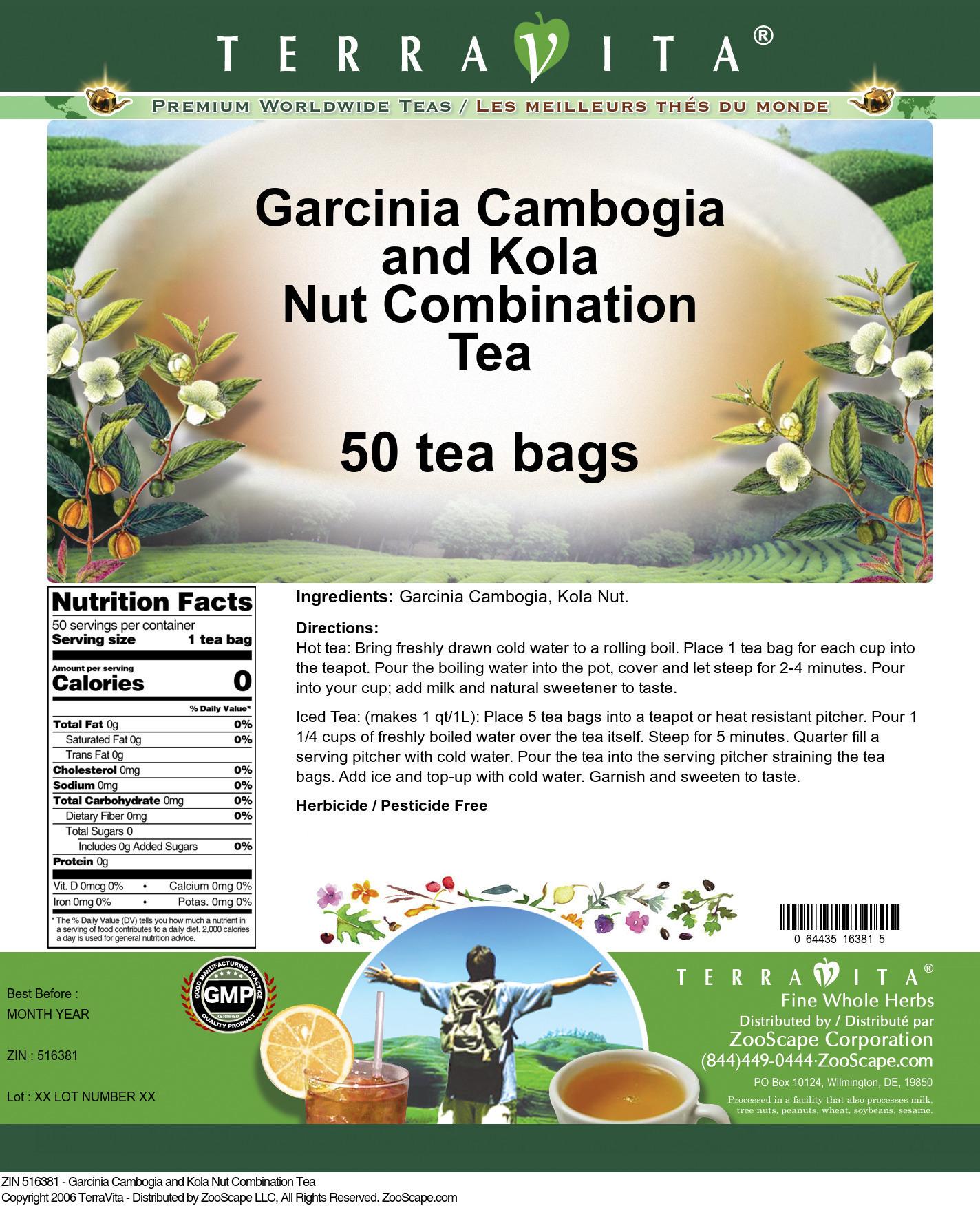 Garcinia Cambogia and Kola Nut Combination Tea