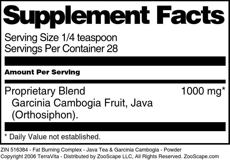 Fat Burning Complex - Java Tea & Garcinia Cambogia - Powder