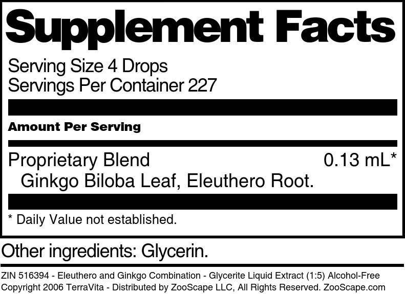 Eleuthero and Ginkgo Combination - Glycerite Liquid Extract (1:5) Alcohol-Free