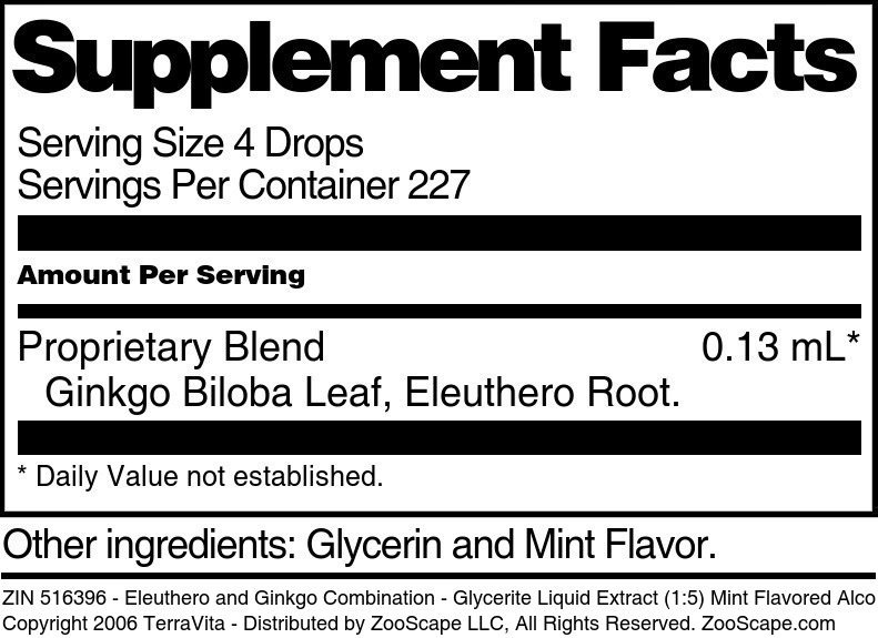Eleuthero and Ginkgo Combination - Glycerite Liquid Extract (1:5) Mint Flavored Alcohol-Free