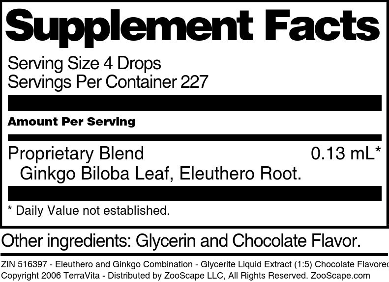 Eleuthero and Ginkgo Combination - Glycerite Liquid Extract (1:5) Chocolate Flavored Alcohol-Free