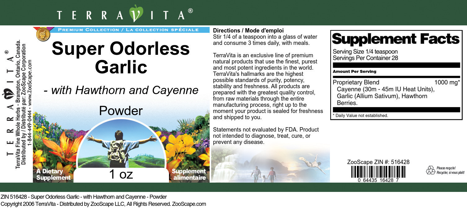 Super Odorless Garlic - with Hawthorn and Cayenne - Powder