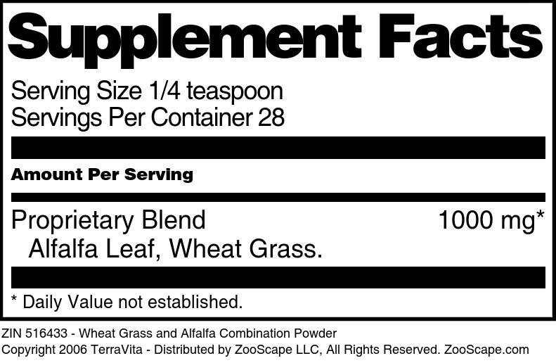 Wheat Grass and Alfalfa Combination Powder
