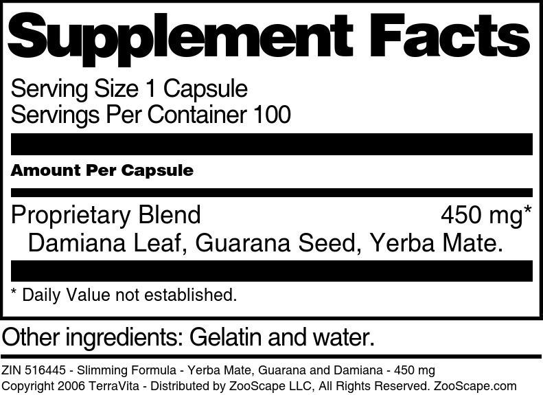 Slimming Formula - Yerba Mate, Guarana and Damiana - 450 mg