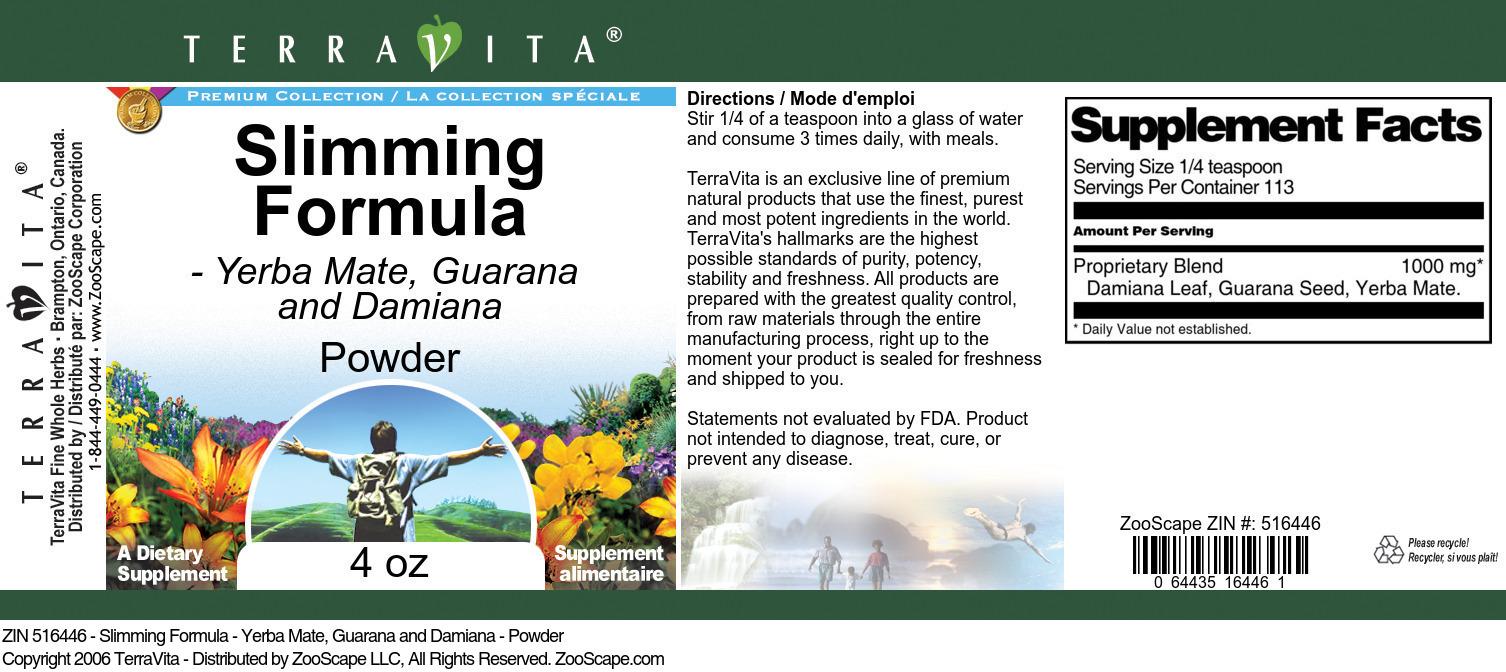 Slimming Formula - Yerba Mate, Guarana and Damiana - Powder
