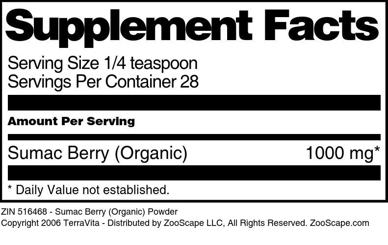 Sumac Berry (Organic) Powder