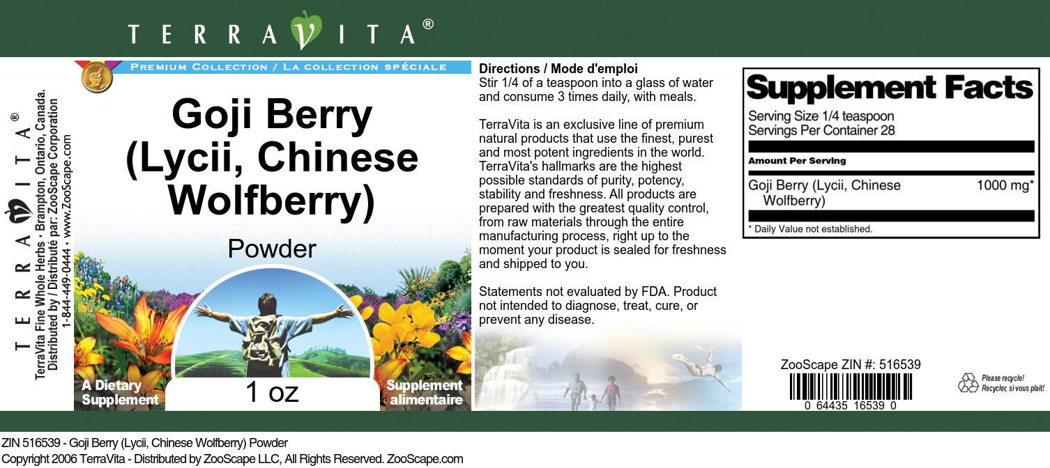Goji Berry (Lycii, Chinese Wolfberry) Powder