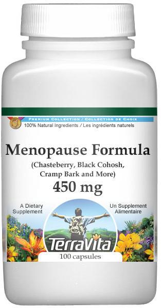 Menopause Formula - Chasteberry, Black Cohosh, Cramp Bark and More - 450 mg