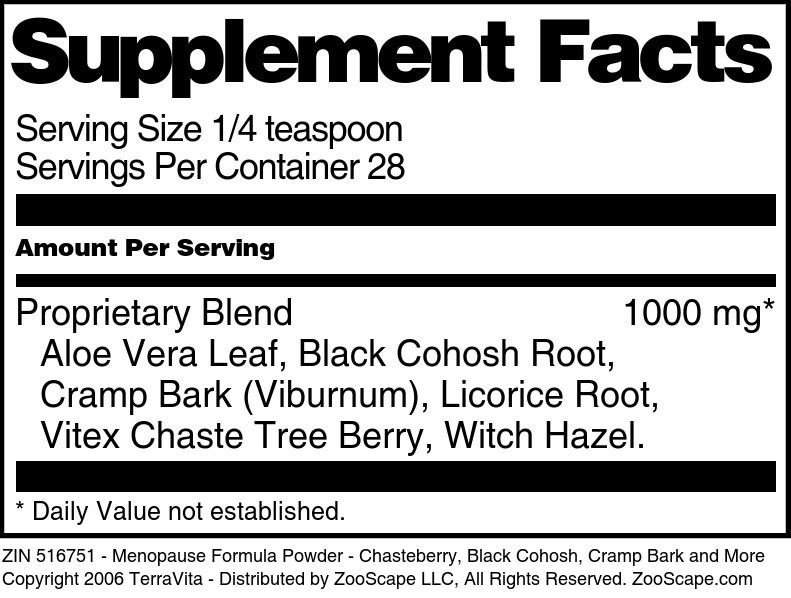 Menopause Formula Powder - Chasteberry, Black Cohosh, Cramp Bark and More