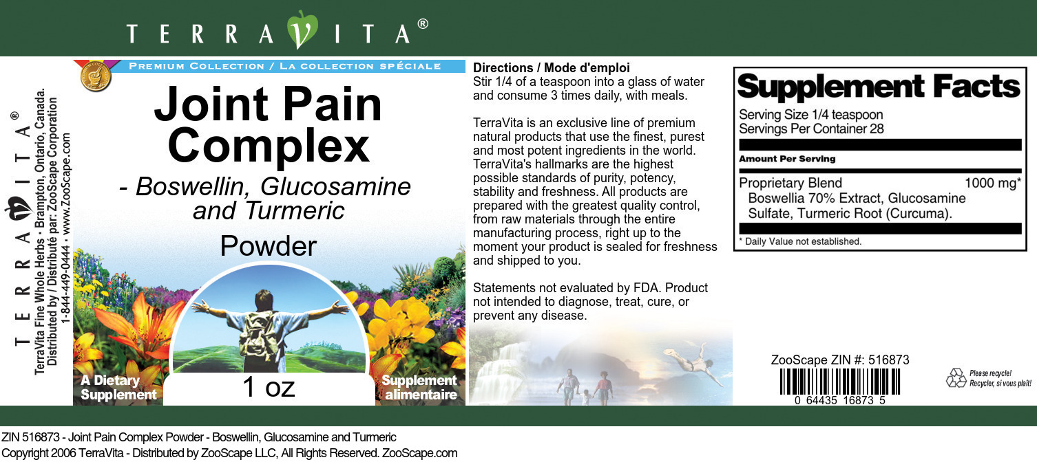 Joint Pain Complex Powder - Boswellin, Glucosamine and Turmeric