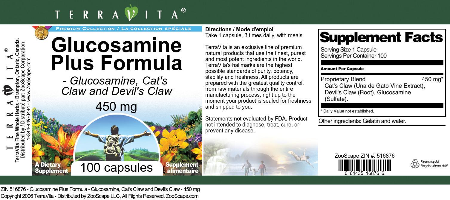 Glucosamine Plus Formula - Glucosamine, Cat's Claw and Devil's Claw - 450 mg