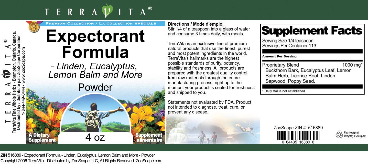Expectorant Formula - Linden, Eucalyptus, Lemon Balm and More - Powder