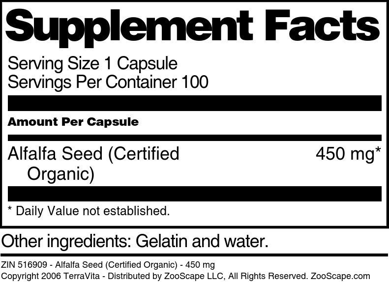 Alfalfa Seed (Certified Organic) - 450 mg