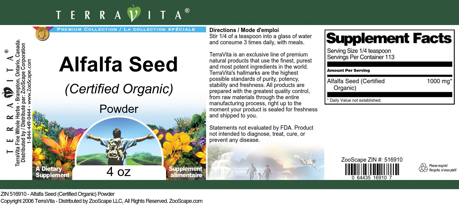 Alfalfa Seed (Certified Organic) Powder