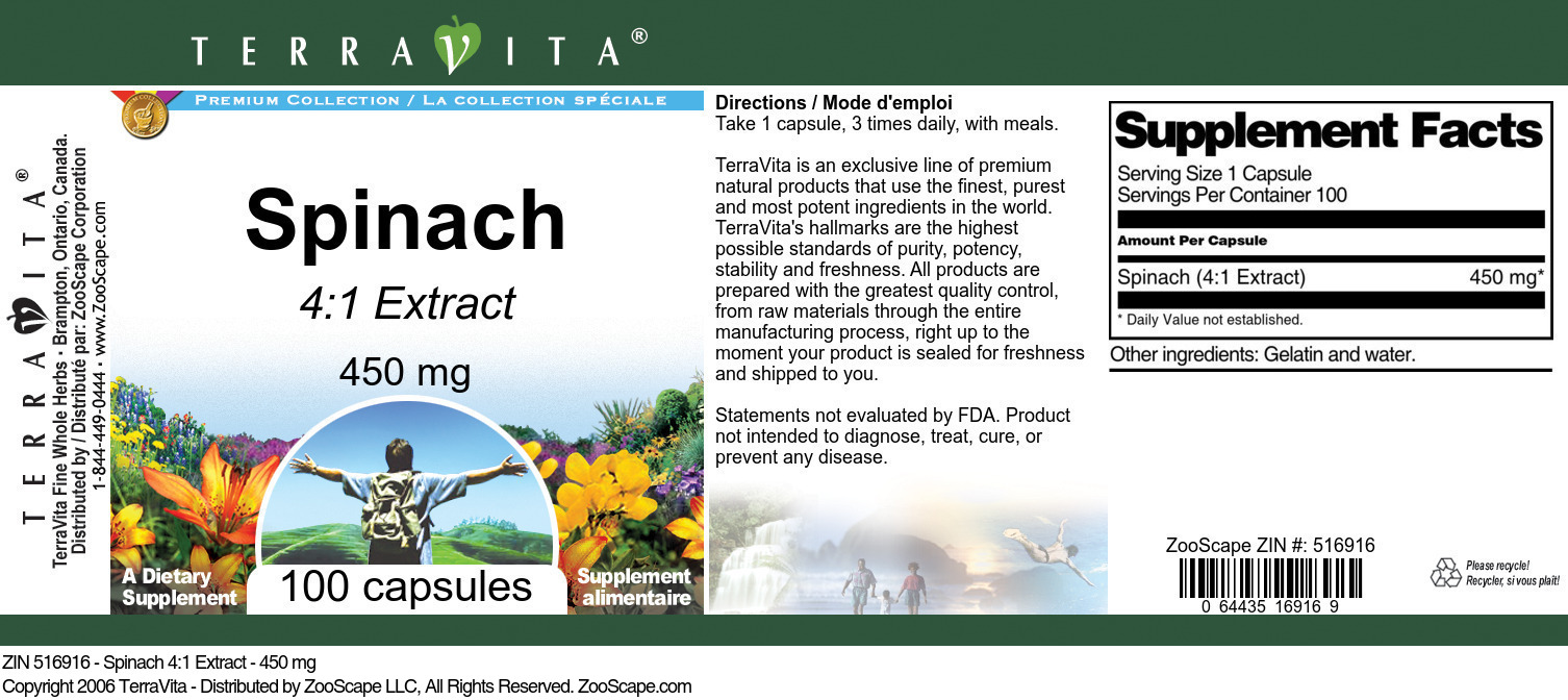 Spinach 4:1 Extract - 450 mg