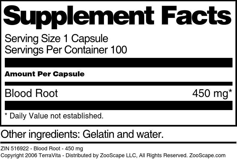 Blood Root - 450 mg - Label