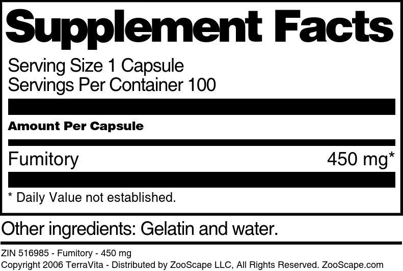 Fumitory - 450 mg