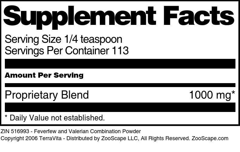 Feverfew and Valerian Combination Powder