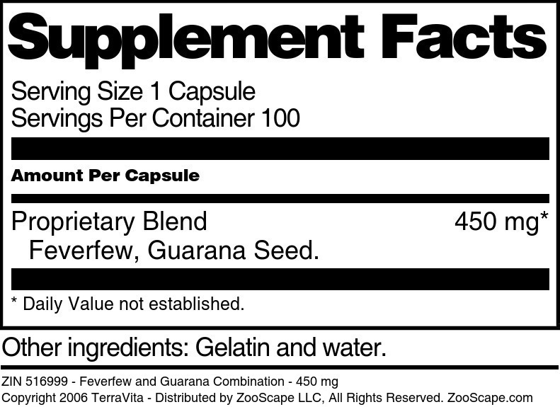 Feverfew and Guarana Combination - 450 mg