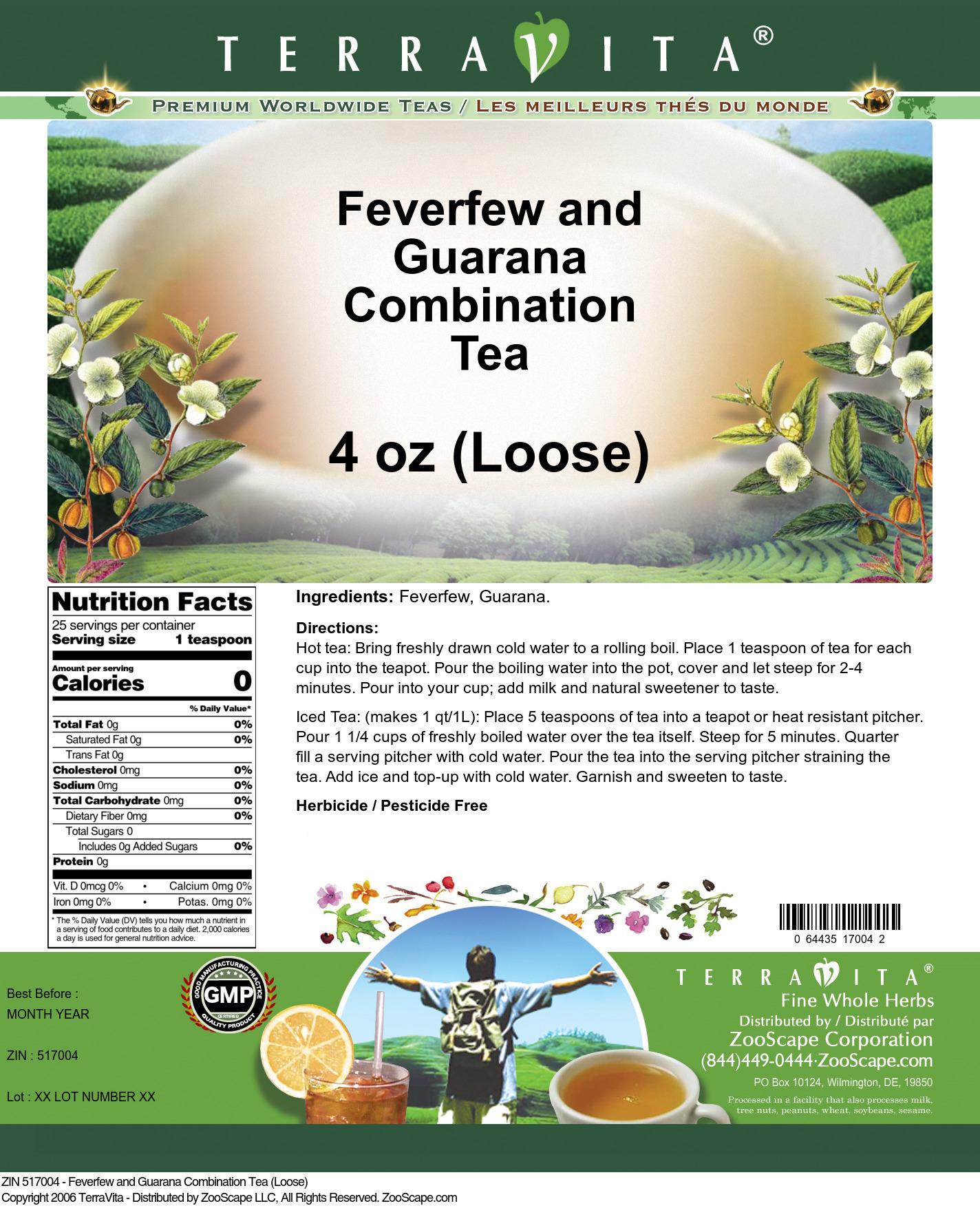 Feverfew and Guarana Combination Tea (Loose)