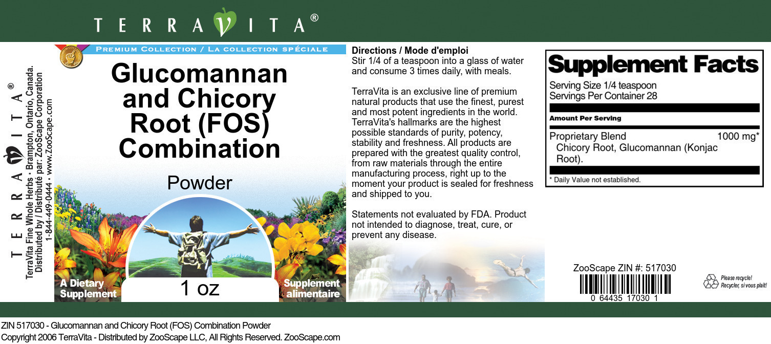 Glucomannan and Chicory Root (FOS) Combination Powder