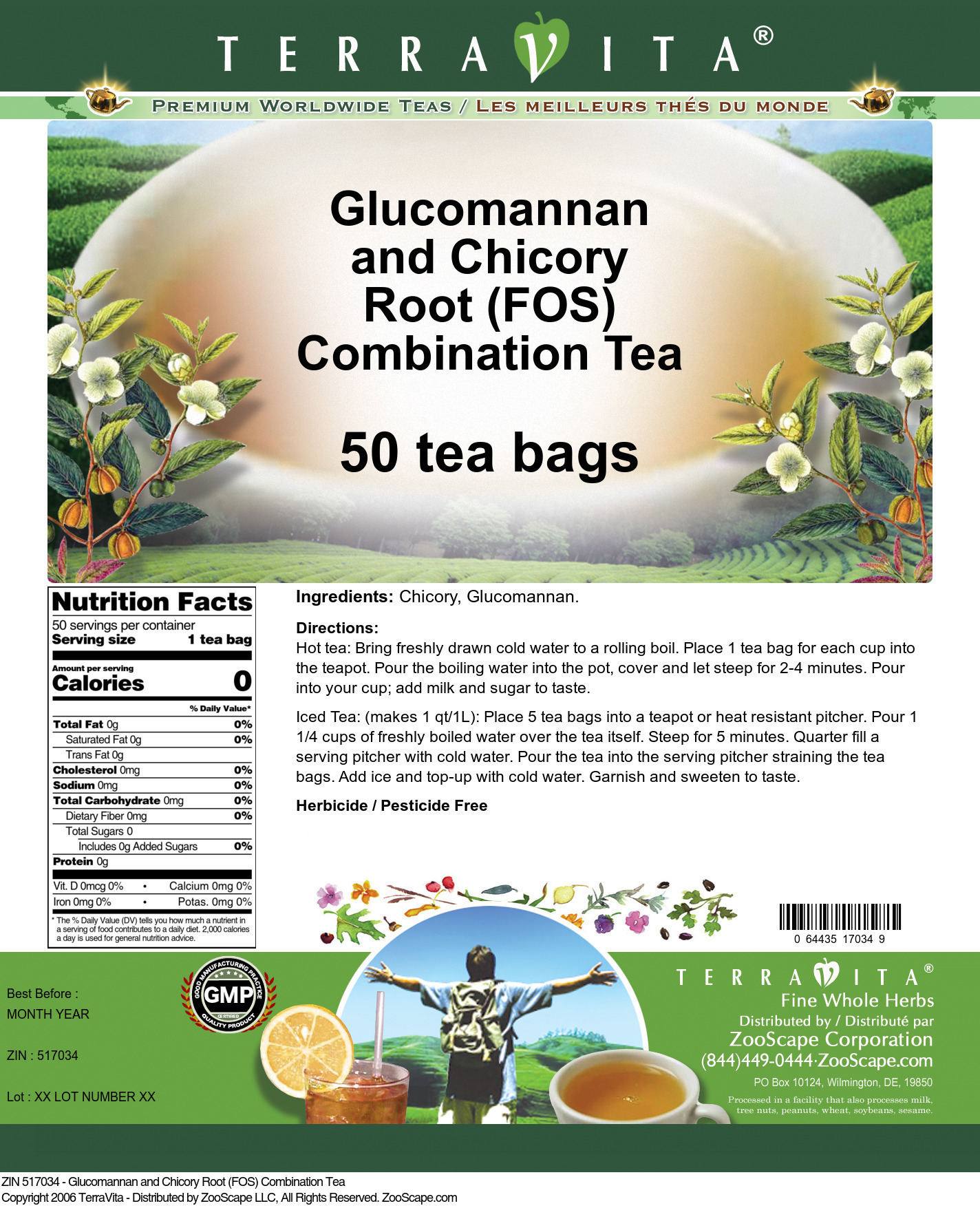 Glucomannan and Chicory Root (FOS) Combination Tea
