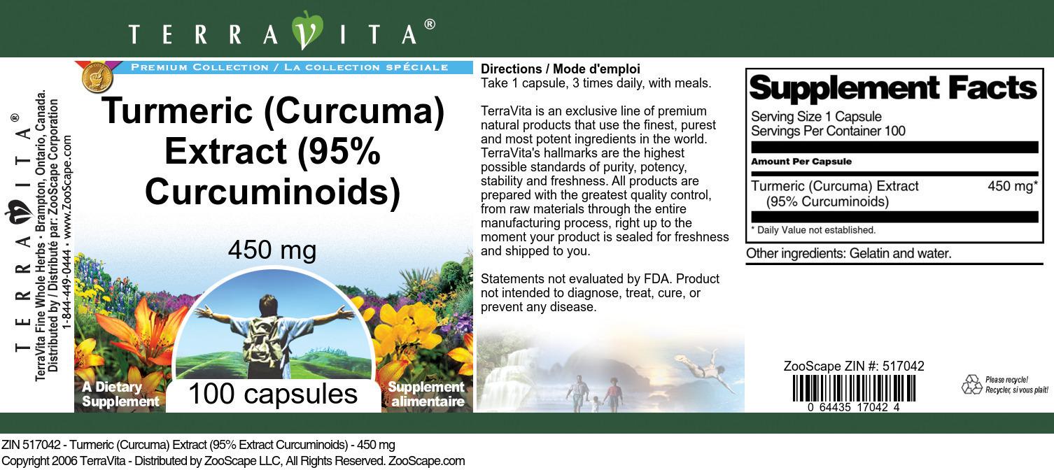 Turmeric (Curcuma) Extract (95% Curcuminoids) - 450 mg