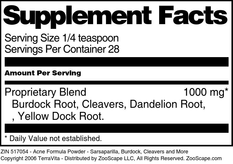 Acne Formula Powder - Sarsaparilla, Burdock, Cleavers and More