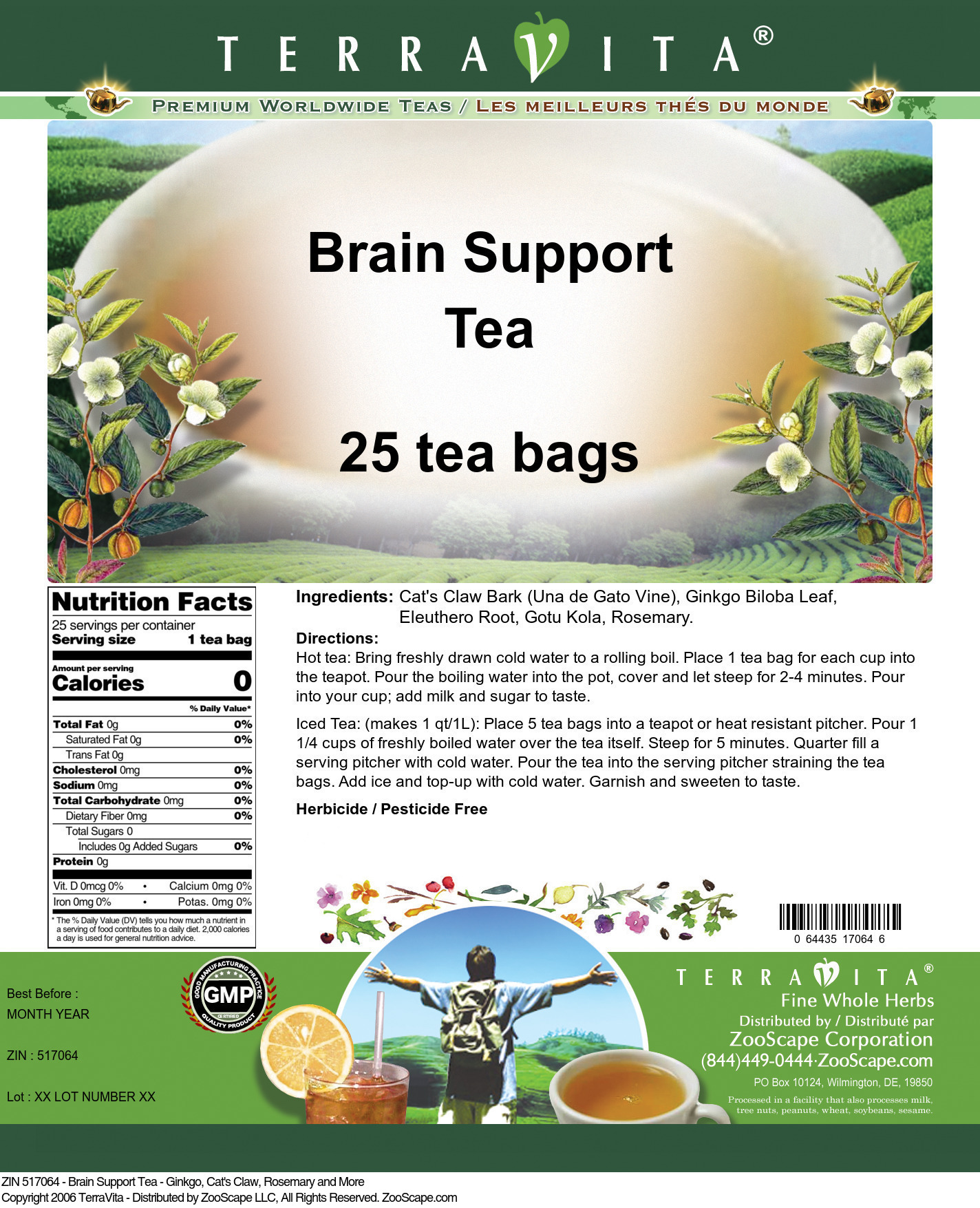 Brain Support Tea - Ginkgo, Cat's Claw, Rosemary and More