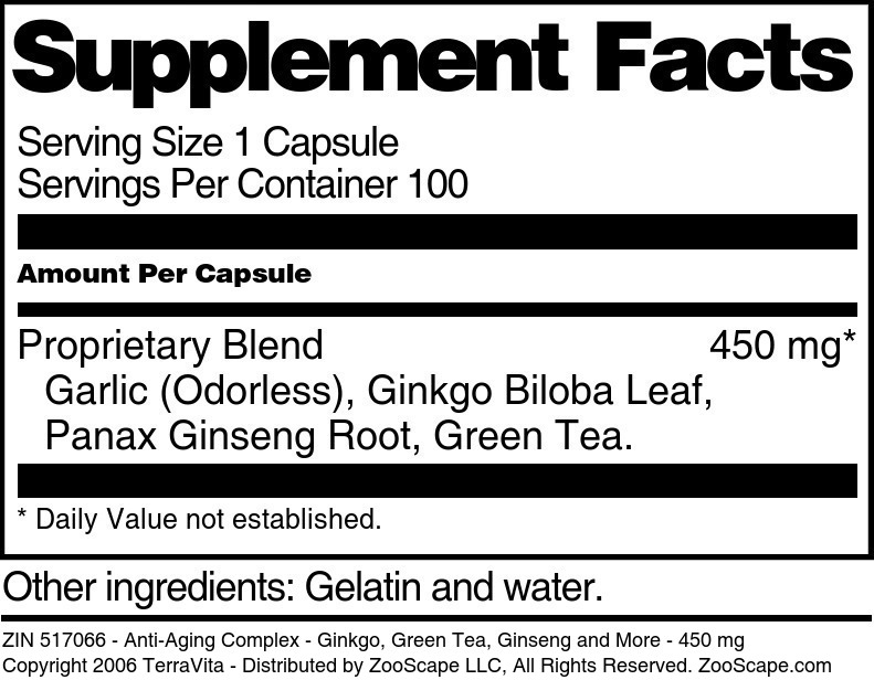 Anti-Aging Complex - Ginkgo, Green Tea, Ginseng and More - 450 mg