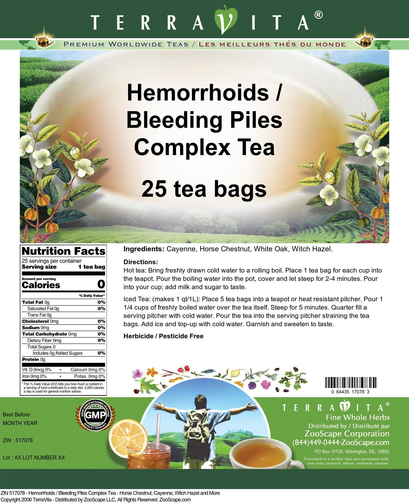 Hemorrhoids / Bleeding Piles Complex Tea - Horse Chestnut, Cayenne, Witch Hazel and More