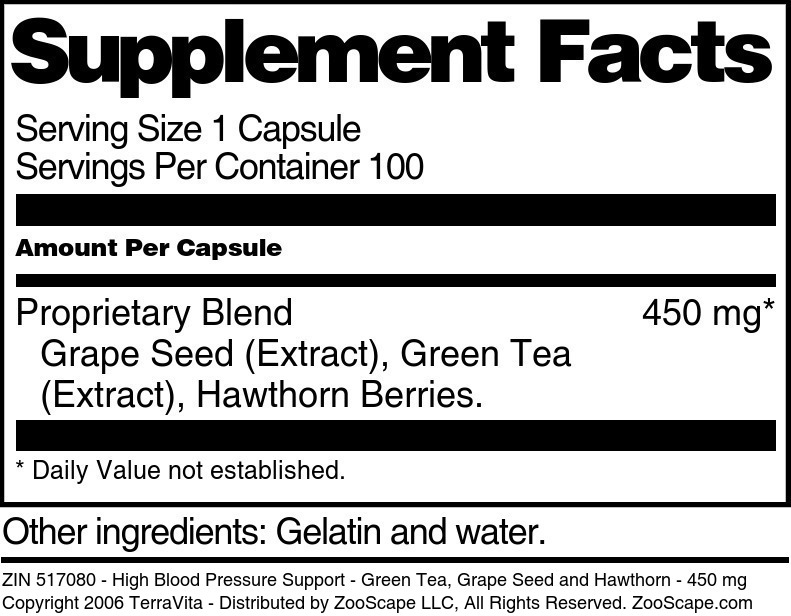 High Blood Pressure Support - Green Tea, Grape Seed and Hawthorn - 450 mg